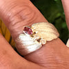 Pink Tourmaline and Moissanite seashell ring by Jeanette Walker at Garden of Silver in Westhampton Beach, Hamptons, Long Island, New York.