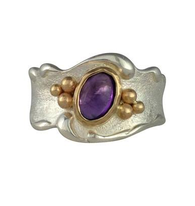 Jeanette Walker Amethyst and gold ring available at Garden of Silver in Westhampton Beach, New York.