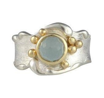 Aquamarine Wave Ring By Jeanette Walker