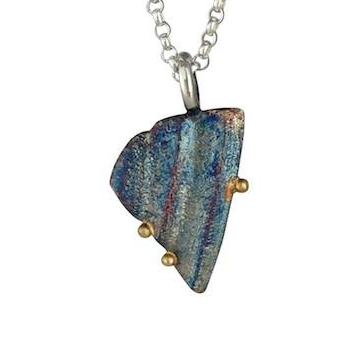 Beach Shell Pendant with gold by Jeanette Walker available at Garden of Silver in Westhampton Beach, New York.