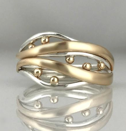 Bubbles & Wake Ring by Jeanette Walker available at Garden of Silver in Westhampton Beach, New York.