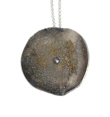 Rust Gold Disc Pendant by Jeanette Walker available at Garden of Silver in Westhampton Beach, New York.