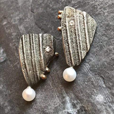 Gold Shell earrings with moissanites by Jeanette Walker at Garden of Silver in Westhampton Beach, Hamptons, Long Island, New York