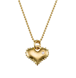 Gold and diamond heart necklace by Jane Bartel at Garden of Silver in Westhampton Beach, NY.