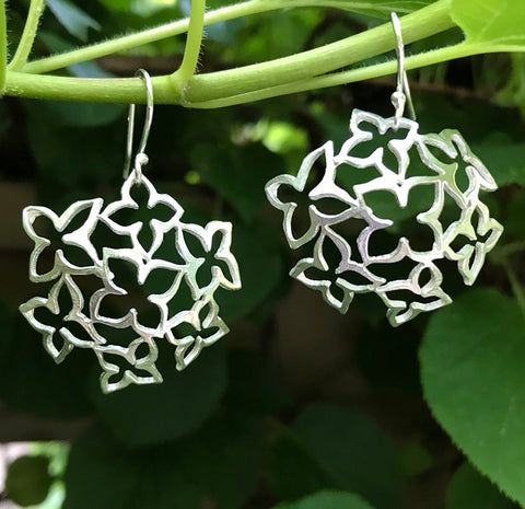 Lacy Hydrangea Earrings handmade in sterling silver by Garden of Silver