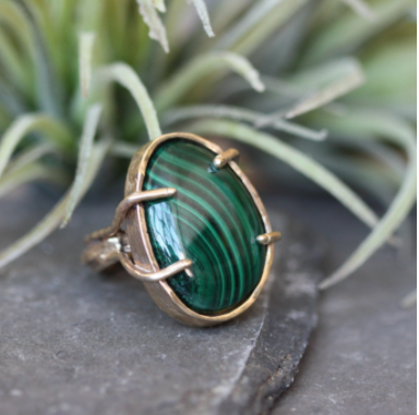 Large Ripple Ring handmade by Emilie Shapiro available at Garden of Silver handmade jewelry in Westhampton Beach, New York, Hamptons.