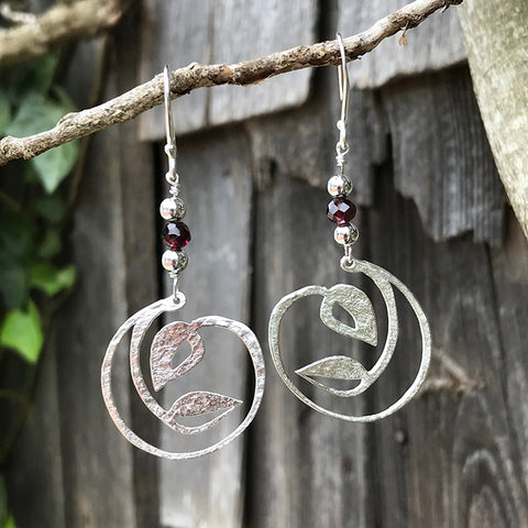 Leaf Circle Earrings