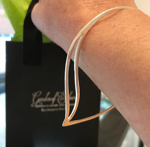 Sterling silver Leafbud Bracelet by Garden of Silver handmade artisan jewelry in Westhampton Beach, New York.