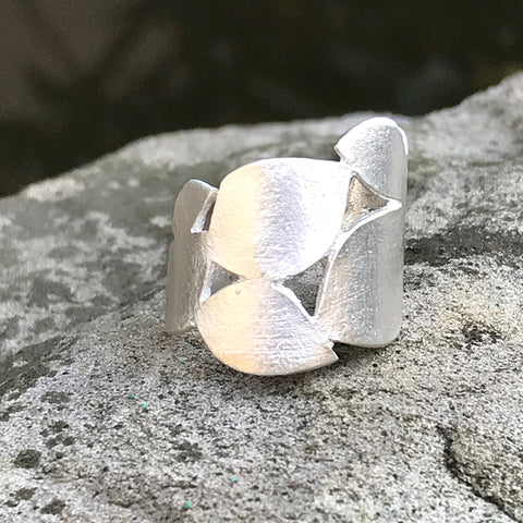 Sterling silver Leaflet Ring by Garden of Silver handmade artisan jewelry in Westhampton Beach, New York.