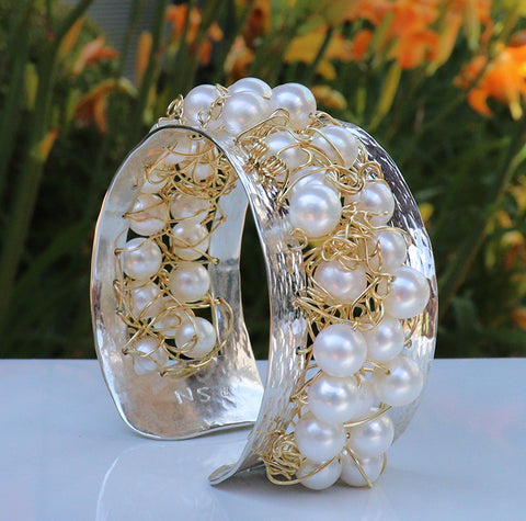 Nikki Sedacca gold, pearl and sterling bracelet at Garden of Silver in Westhampton Beach, New York.