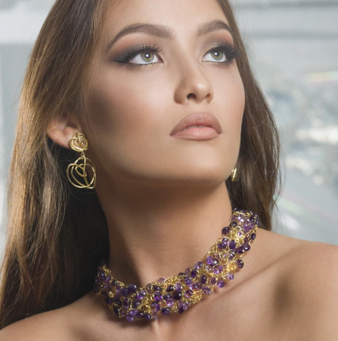 18kt Gold and Amethyst Collar by Nikki Sedacca