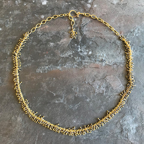 Smoky Gold Necklace by Garden of Silver artisan handmade jewelry in Westhampton Beach, New York.