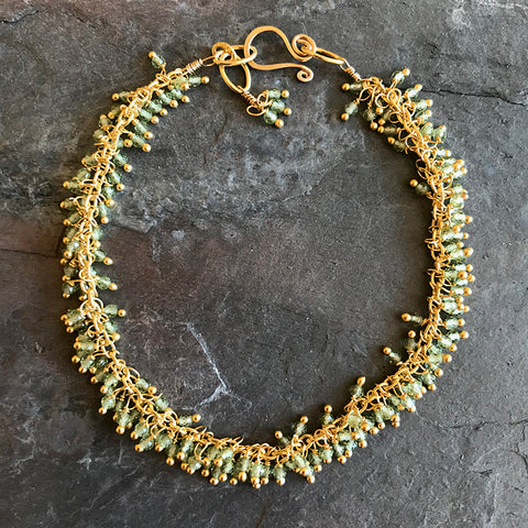 Peridot Kelp Bracelet by Garden of Silver handmade artisan jewelry in Westhampton Beach, New York