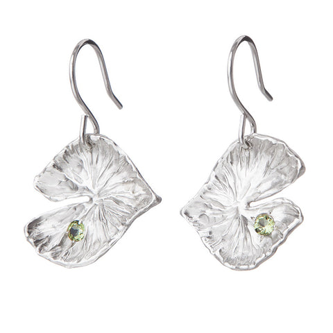 Lilypad Earrings with Peridots