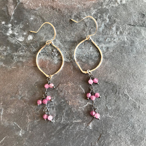 Pink Berry Earrings handmade in sterling and pink tourmaline gemstones by Garden of Silver jewelry.