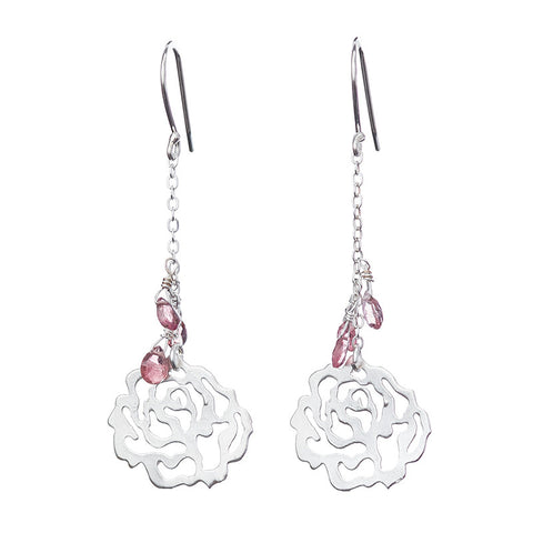 Pink Lace Rose Earrings