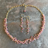 Pink Tourmaline Vine Necklace, Earrings and Bracelet handmade by Garden of Silver in Westhampton Beach, New York.