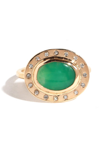 Gold Chrysoprase Diamond Ring by Melissa Joy Manning