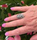 Susan Rodgers Designs sterling silver tree bark ring is at Garden of Silver Westhampton Beach, Long Island, Hamptons, New York.