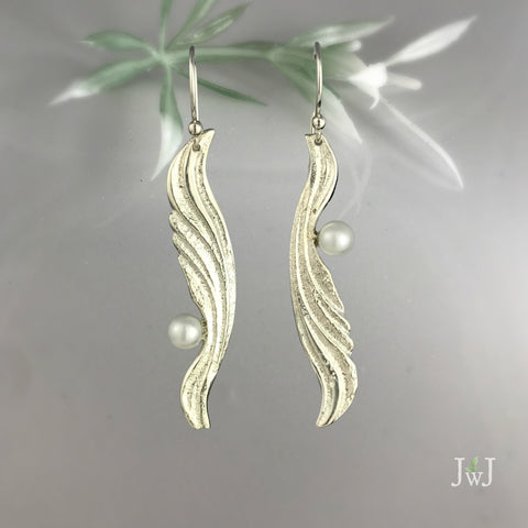 Rippling Wing Earrings by Jeanette Walker at Garden of Silver in Westhampton Beach. www.gardenofsilver.com