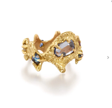 Jane Bartel gold and sapphire ring at Garden of Silver in Westhampton Beach, Long Island, New York.