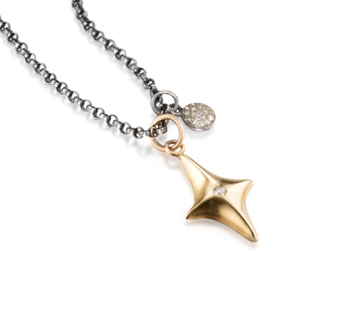 North Star Gold and Diamond Necklace by Jane Bartel at Garden of Silver in Westhampton Beach, New York