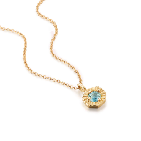Mini 14k Gold Blue Gemstone Necklace By Jane Bartel at Garden of Silver in Westhampton Beach, New York, Hamptons