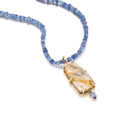 Abalone and Blue Sapphire Necklace by Jane Bartel at Garden of Silver in Westhampton Beach, New York, Hamptons
