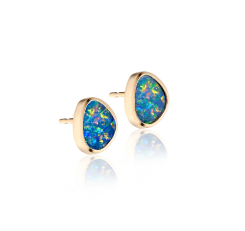 Australian Opal Stud Earrings by Jane Bartel at Garden of Silver, Westhampton Beach www.gardenofsilver.com