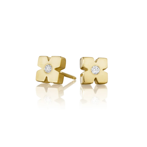 Geometric Gold Diamond Stud Earrings by Jane Bartel at Garden of Silver, Westhampton Beach www.gardenofsilver.com