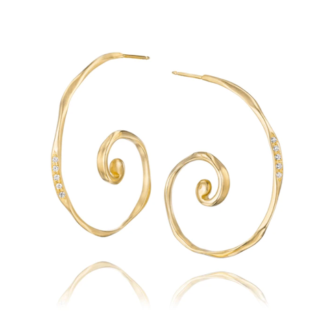 Gold and Diamond Spiral Hoop Earrings by Jane Bartel at Garden of Silver, Westhampton Beach, www.gardenofsilver.com