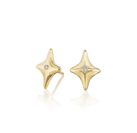 Gold Star Diamond Stud Earrings by Jane Bartel at Garden of Silver, Westhampton Beach www.gardenofsilver.com
