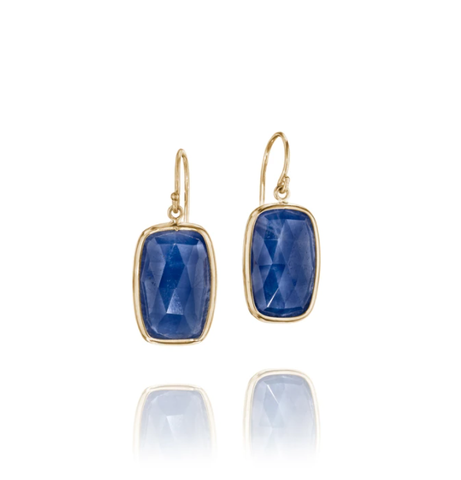 Rectangle Blue Sapphire Earrings by Jane Bartel at Garden of Silver, Westhampton Beach, www.gardenofsilver.com