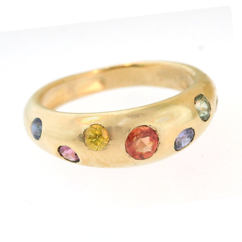 Dome Ring with Rainbow Sapphires in 14k yellow gold by Jill Lynn at Garden of Silver in Westhampton Beach, NY. www.gardenofsilver.com