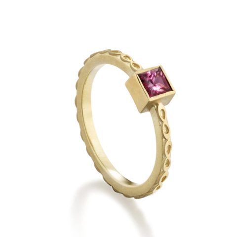 Mauve Spinel Infinity Ring by Elizabeth Moore at Garden of Silver in Westhampton Beach, NY www.gardenofsilver.com