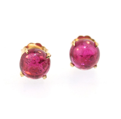 Pink Tourmaline Cabochons in 14k Yellow Gold by Jill Lynn at Garden of Silver in Westhampton Beach, NY www.gardenofsilver.com