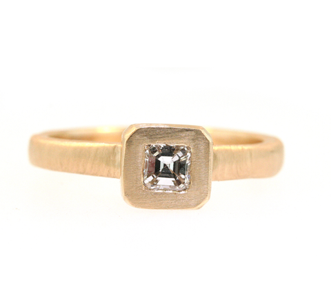 14K Yellow Gold Asscher Cut Diamond Ring by Jill Lynn at Garden of Silver in Westhampton Beach, NY www.gardenofsilver.com