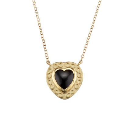 Black Onyx Gold Heart by Elizabeth Moore at Garden of Silver in Westhampton Beach, New York. www.gardenofsilver.com