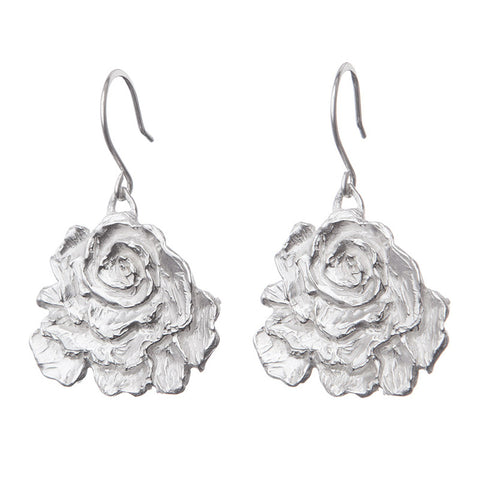 Silvery Rose Earrings