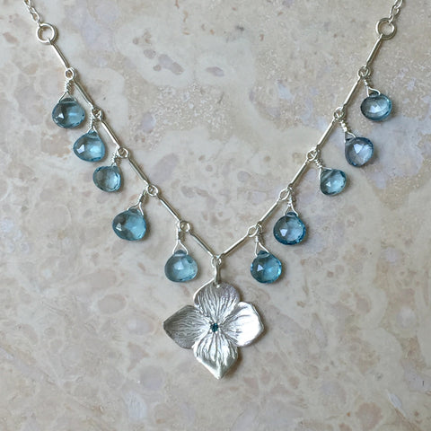 Blue Hydrangea Blossom Necklace handmade by Garden of Silver in Westhampton Beach, New York.