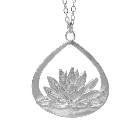 Garden of Silver Water Lily Heaven Necklace handmade in sterling silver