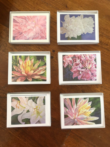 Set of 6 flower themed blank greeting cards from watercolor and colored pencil reproductions by Eileen Baumeister McIntyre. Each card is printed on watercolor paper, is 4.25