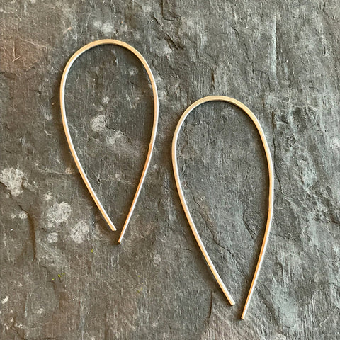 Silver & Gold Wishbone earrings by Colleen Mauer at Garden of Silver in Westhampton Beach, New York.