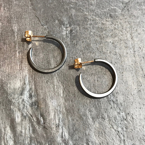 Mini Oxidized hoop earrings by Colleen Mauer at Garden of Silver in Westhampton Beach, New York.