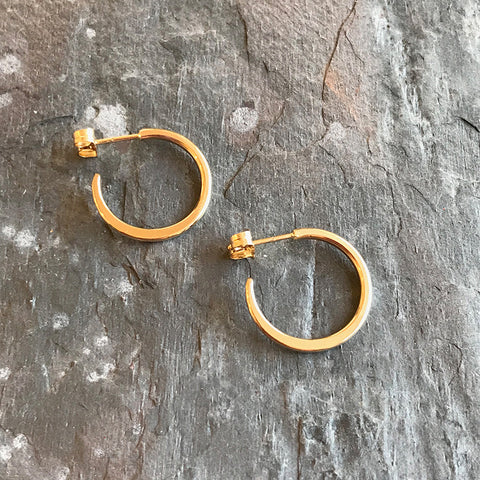 Mini Gold hoop earrings by Colleen Mauer at Garden of Silver in Westhampton Beach, New York.