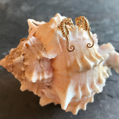 Gold seahorse earrings by Michelle Clark at Garden of Silver in Westhampton Beach, Hamptons, Long Island, New York.