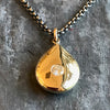 Gold Teardrop Pendant with Diamond by Jane Bartel at Garden of Silver in Westhampton Beach, New York.
