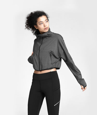 Classic High Waist Zip Jacket With Pockets - Grey