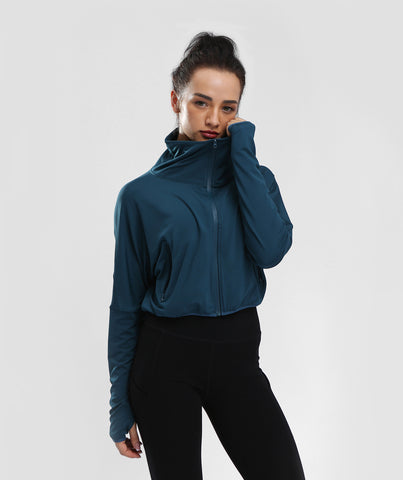 Classic High Waist Zip Jacket With Pockets - Navy Blue