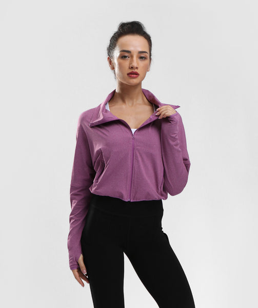 Classic High Waist Zip Jacket With Pockets - Purple